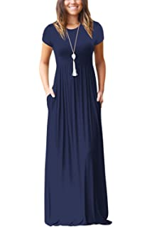 6b5837fc5a Zilcremo Women Summer Casual Short Sleeve Solid Side Pockets Maxi Party  Dress