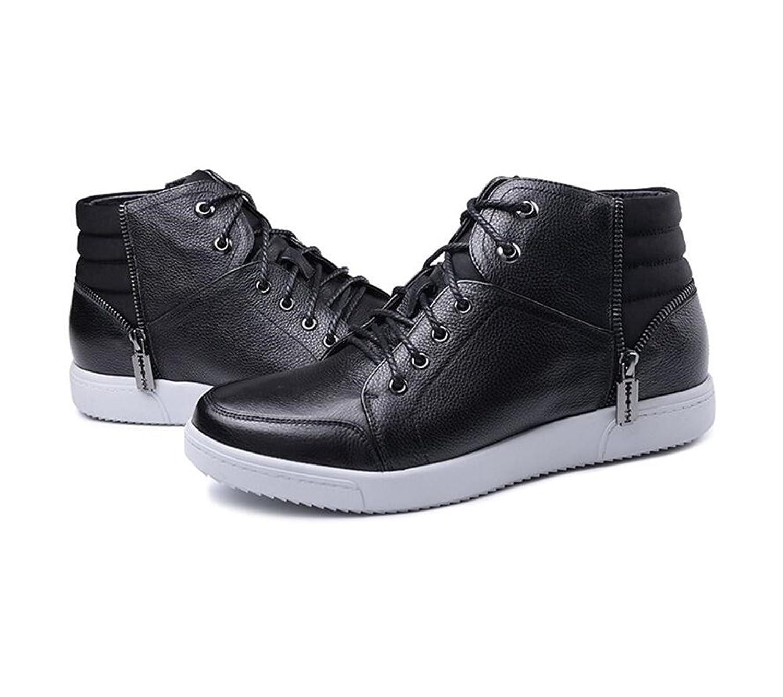 Elevator boots Men's Genuine Leather shoes Taller 6 cm