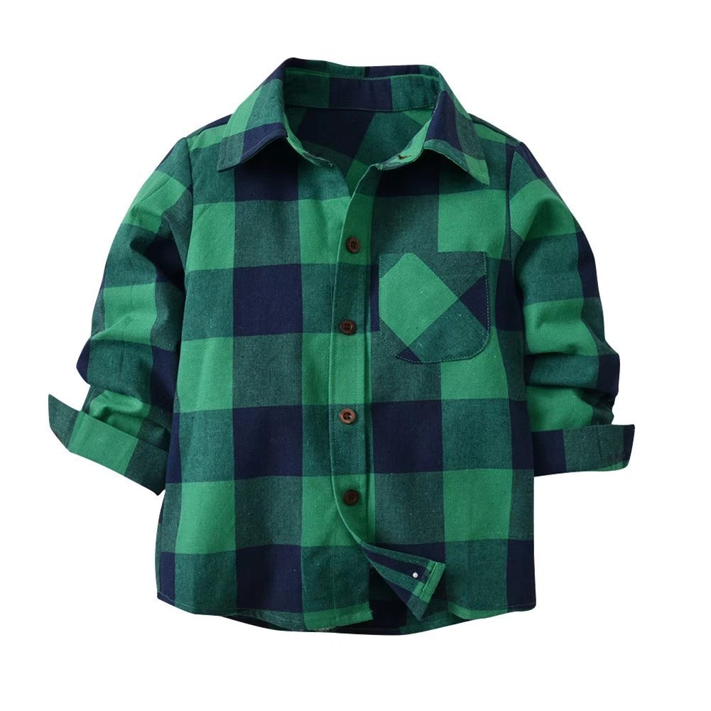 Kids Long Sleeve Boy's Plaid Button Down Cotton Shirt (6T CN 130)