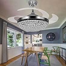 TiptonLight Ceiling Fans with Lights 42 Inch Modern Chrome Ceiling Fan Retractable Blades Crystal LED Chandelier Fan with Remote Control Fandelier Not Dimmable,2 Down-rods Included