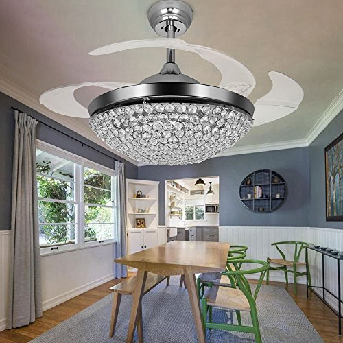 TiptonLight Ceiling Fans with Lights 42 Inch Modern Chrome Ceiling Fan Retractable Blades Crystal LED Chandelier Fan with Remote Control Fandelier Not Dimmable