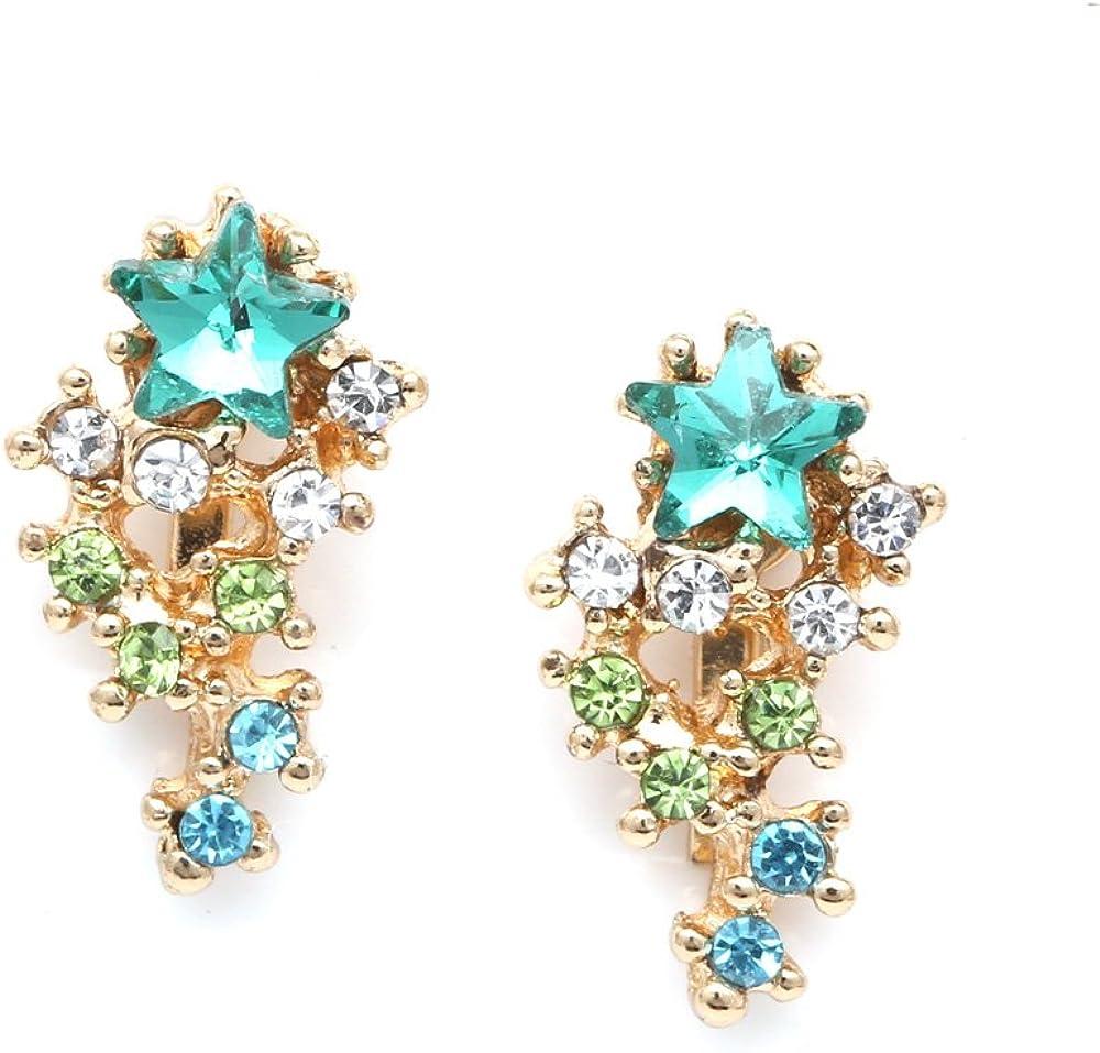 Idin Jewellery - Estrella turquesa con clip de cristal en cascada en pendientes