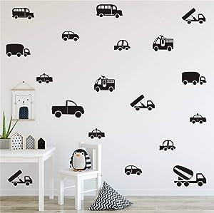 36pcs / Set Kinds of Cars Trucks Pattern Wall Decor Sticker Art Vinyl Wall Decal for Boys Room Kids Nursery Playroom Bedroom Wall Decals (Black)