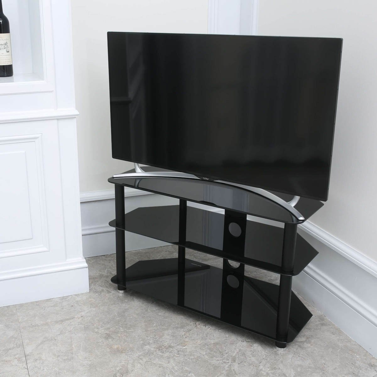 Stealth Mounts 1000mm Black Glass TV Stand For 3D/LED: Amazon.co ...