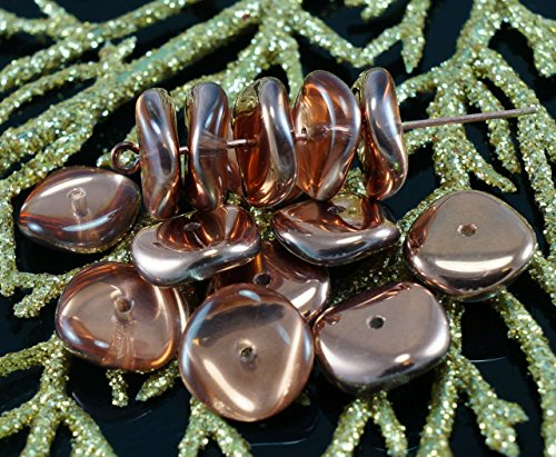 NEW SHAPE 12pcs Crystal Bronze Gold Capri Half Round Disk One Hole Czech Glass Beads Disc 12mm (Prices Capri Furniture)