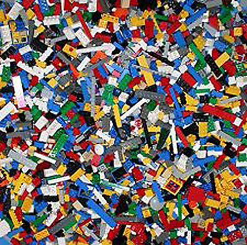 "Three Pounds RANDOM Lot Bulk Lego Bricks Plates Pieces Parts + 2 Minifigures + 10""x10"" BASEPLATE"