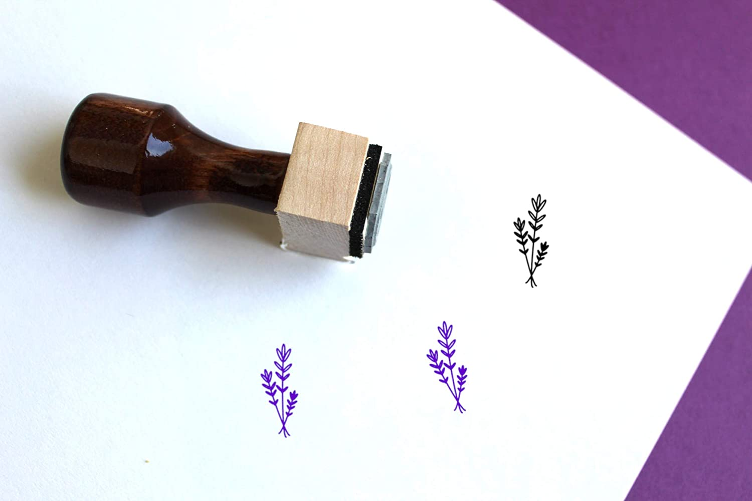 Lavender Wooden Rubber Stamp 0.5 x 0.5