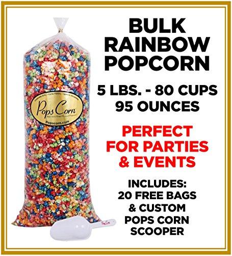 Gourmet PopCorn BULK/WHOLESALE RAINBOW POPCORN - 5 GAL-80 CUPS-95 OZ-FREE SCOOPER!!