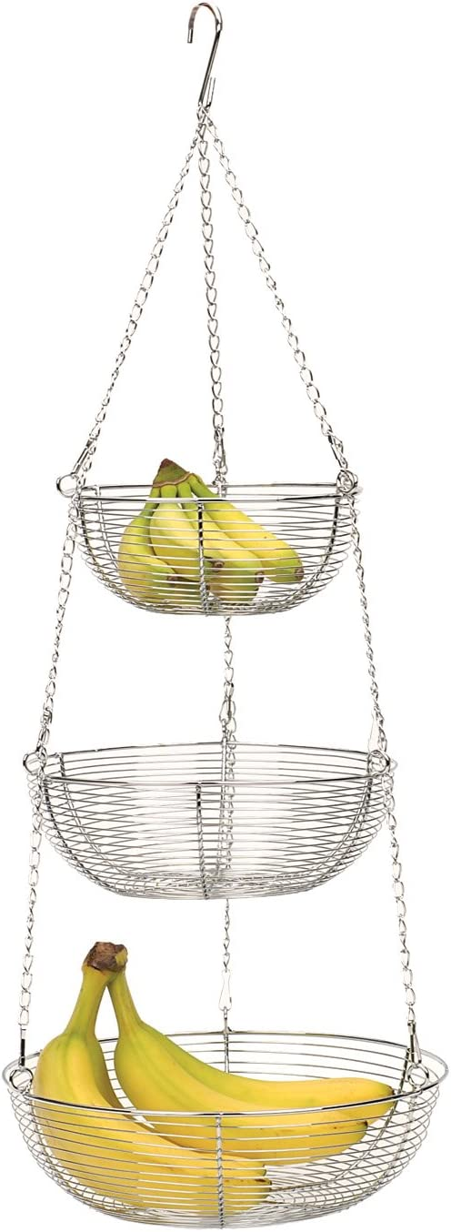 RSVP 3-Tier Hanging Wire Basket, Woven Chrome