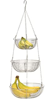 Great RSVP 3 Tier Hanging Chrome Woven Wire Basket