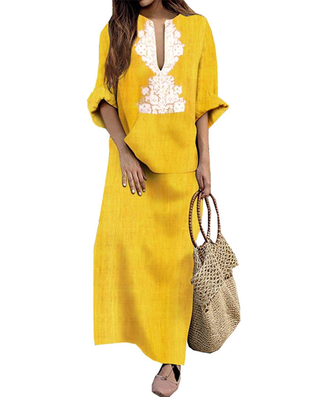 Jacansi Women's Plus Size Long Sleeve Cotton Linen Kaftan Printed Floral Maxi Dress Yellow S