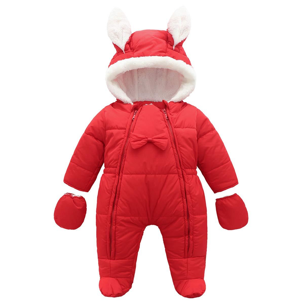 Famuka Baby Snowsuit Warm Winter Romper Fleece Lined Outwear Outfit