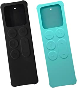 2 Pack Case for Apple TV 4K/5th and 4th Generation Remote - Silicone Skin Protective Non-Slip Compact Shock Proof Cover for Apple TV Siri Remote Controller - Black Cyan by Gesoon