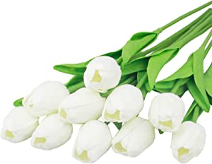 10PCS Artificial Tulips Flowers Mini Real Touch Feeling Fake Flower Faux Latex Tulip for Wedding Home Decoration (White)