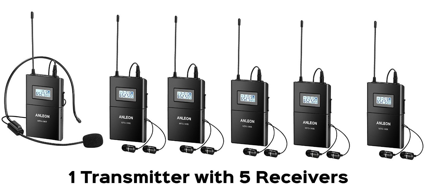 ANLEON Wireless Audio Transmission and Receiving System Wireless Headset Microphone System for Tour Guide Teaching simultaneous translation interpretation (1 transmitter + 5 receivers)