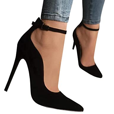 Womens Stilettos Pointed Toe High Heel Pumps Ankle Buckle Strap Party Shoes