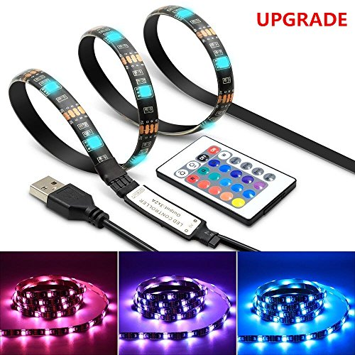 LED Strip Light TV Bias Backlight Kit IP65 Waterproof Accent RGB Monitor Lighting Strip with Remote Control -16 Colors USB Powered 60 Leds for HDTV Desktop PC Fish Tank Decorations (2 Meters-6.6 ft)