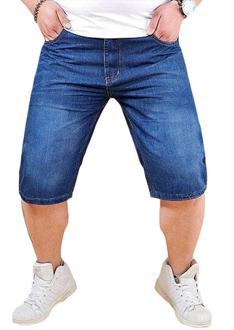 WAWAYA Men Lightweight Stretch Casual Plus Size Denim Shorts Jeans