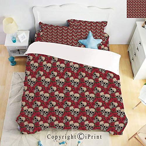 Homenon Bedding 4 Piece Sheet,Graphic Skulls and Red Rose Blossoms Halloween Inspired Retro Gothic Pattern,Vermilion Tan Green,Full Size,Suitable for Families,Hotels ()