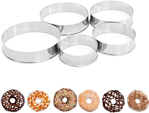 5pcs Stainless Steel Round Cookie Biscuit Pastry Cutter Baking Cake Ring Mold