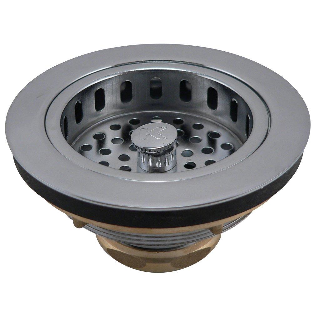 Keeney K5445 Cast Brass Drop Post Sink Strainer Basket, Polished Chrome