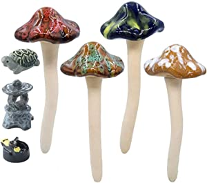 "Danmu 4Pcs Random Color Ceramic Mushrooms 4.52"" H and 3Pcs Mini Size Polyresin Tortoise Fairy Garden Set for Fairy Garden, Plant Pot, Garden Decor"