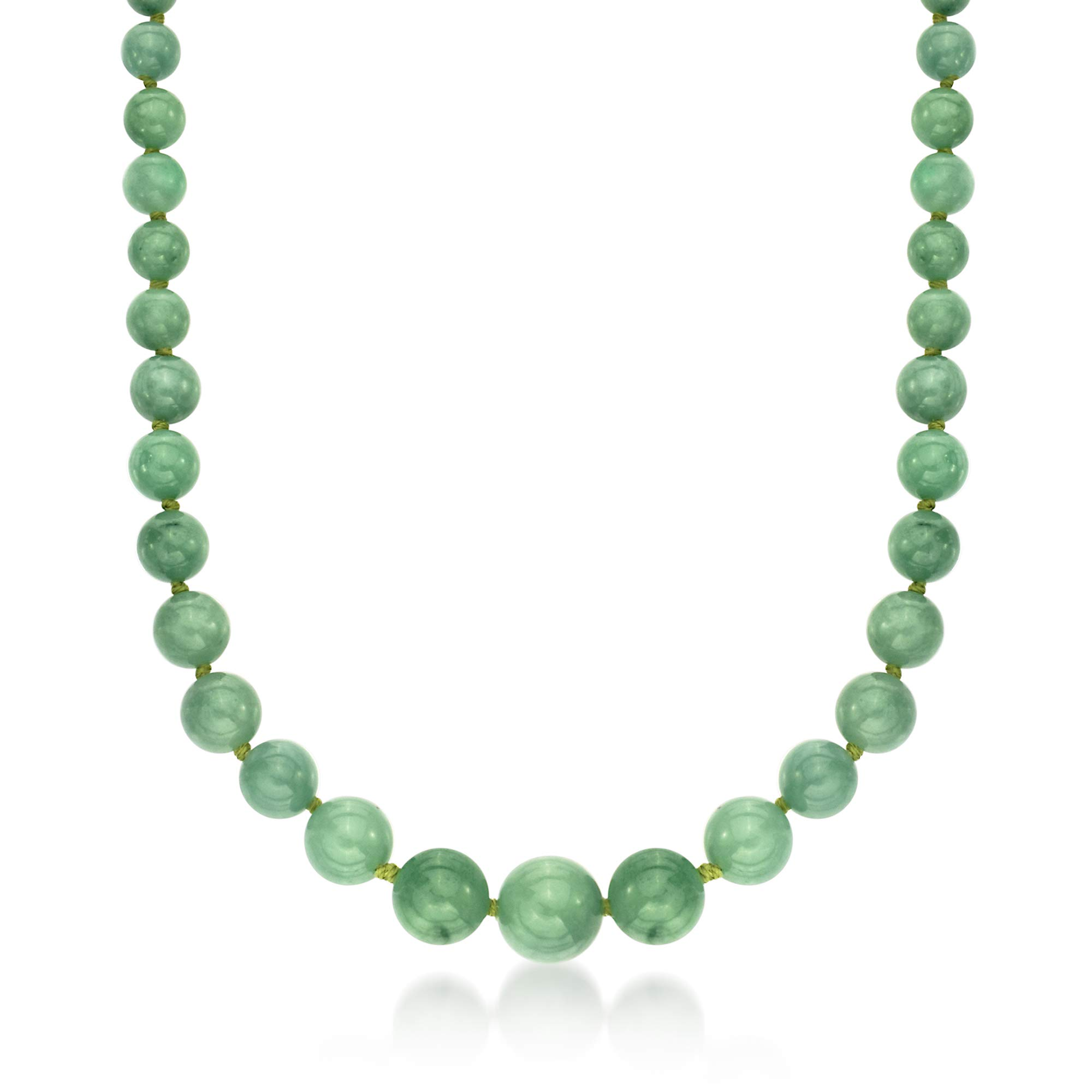 Ross-Simons 6-13mm Graduated Green Jade Bead Necklace With 14kt Yellow Gold by Ross-Simons (Image #1)