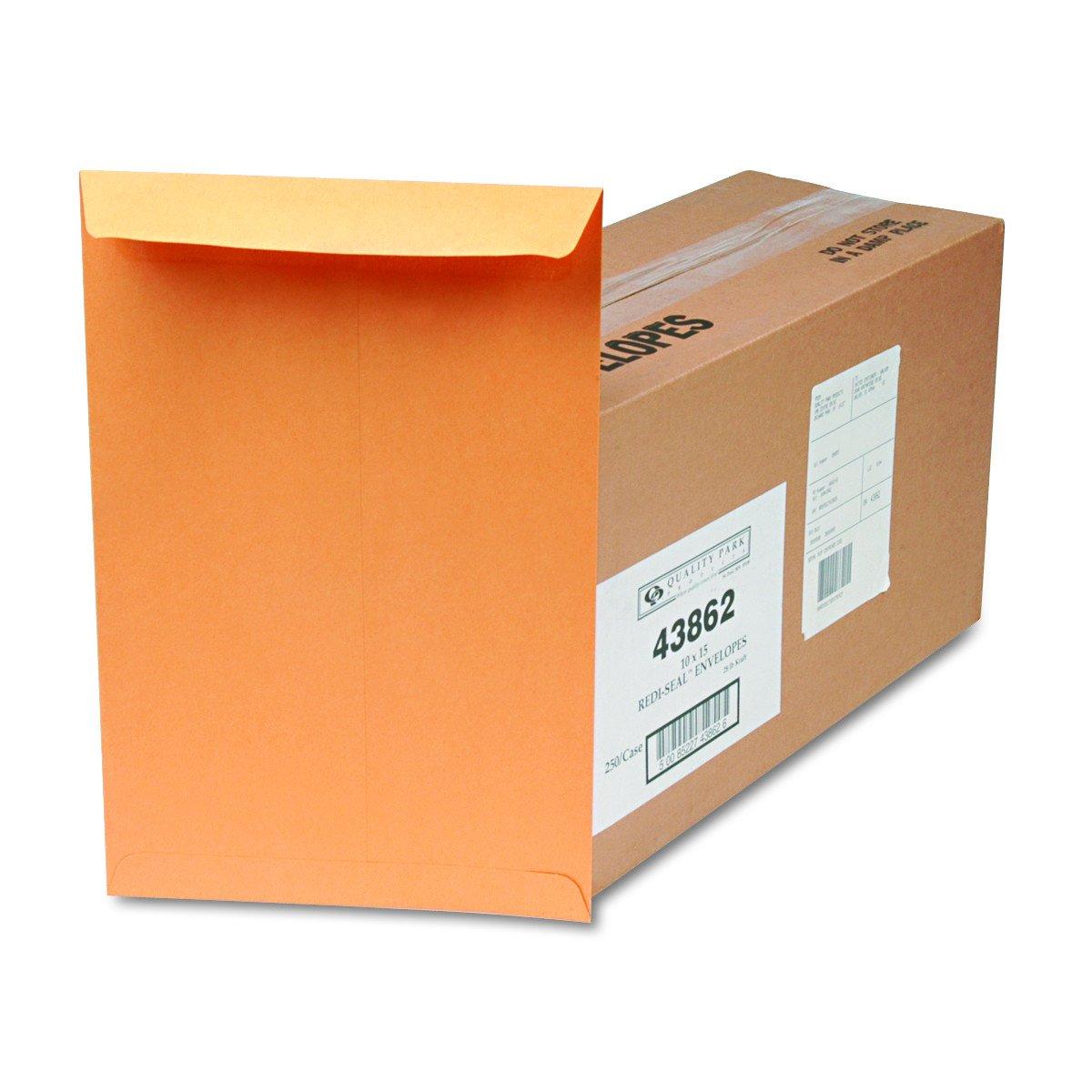 Quality Park 43862 Redi-Seal Catalog Envelope, 10 x 15, Brown Kraft (Box of 250)