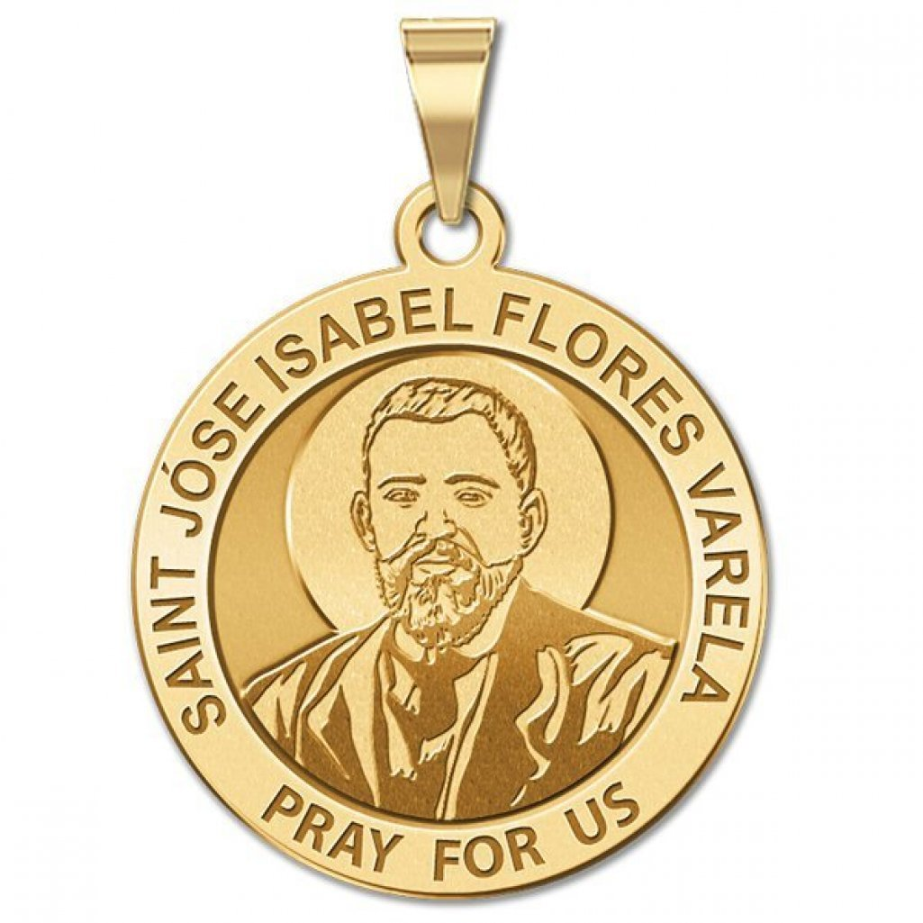 Saint Jose Isabel Flores Varela Religious Medal - 1 Inch Size of a Quarter -Solid 14K Yellow Gold