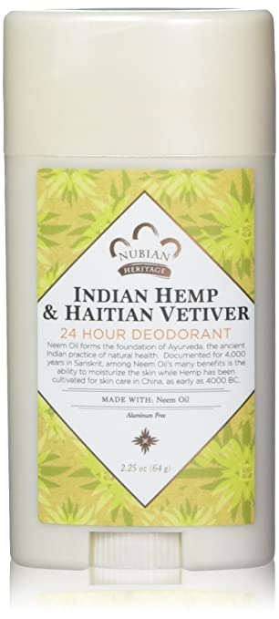 Nubian Heritage/Sundial Creations Indian Hemp and Haitian Deodorant, Vetiver with Neem Oil, 2.25 Ounce