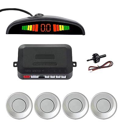 SINOVCLE Car LED Parking Sensor Kit 4 Sensors 22mm Backlight Display Reverse Backup Radar Monitor System 12V (Silver Color): Automotive