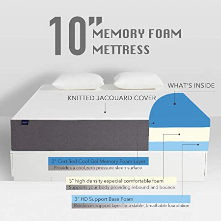 Amazon.com - King Mattress, Molblly Premium 10 Inch Gel Memory Foam Mattress in a Box, Breathable Bed Mattress with CertiPUR-US Certified Foam for Sleep ...