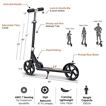 Amazon.com: GYMAX Kick Scooter, Folding Big Wheel Scooter ...
