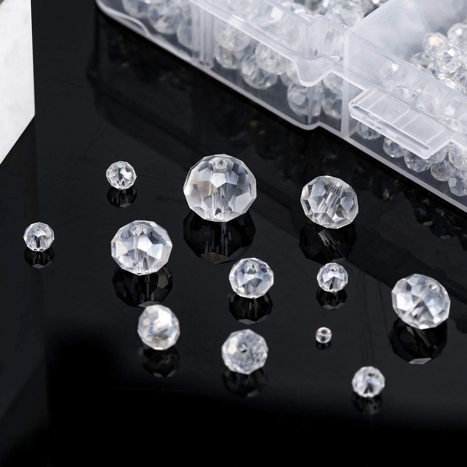 2-10mm// 0.07-0.40inch TOYMIS 900+pcs Crystal Beads Kit with Plastic Storage Box Full AB Coated Glass Beads Rondelle Crystal Beads Clear Crystal Beads Assorted Supplies for Jewelry Making