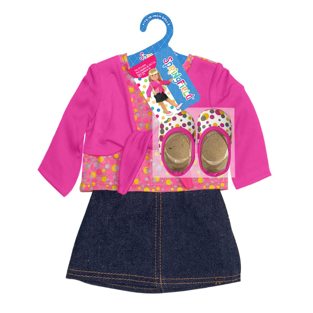The Springfield Collection by Fibre-Craft Denim Skirt Outfit, Pink Shirt and Polka Dot Shoes by Fibre Craft