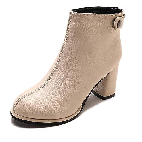 Botines para Mujer Tacon Ancho Piel Ante Botas Botita Moda: Amazon.es: Zapatos y complementos