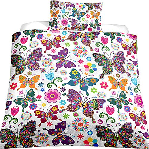 Feelyou Girls Duvet Cover Set Queen Size Butterfly Bedding Set for Kids Teens Gorgeous Colorful Butterflies Floral Flowers Microfiber Polyester Comforter Cover with 2 Pillow Shams, Zipper, 3 Pieces