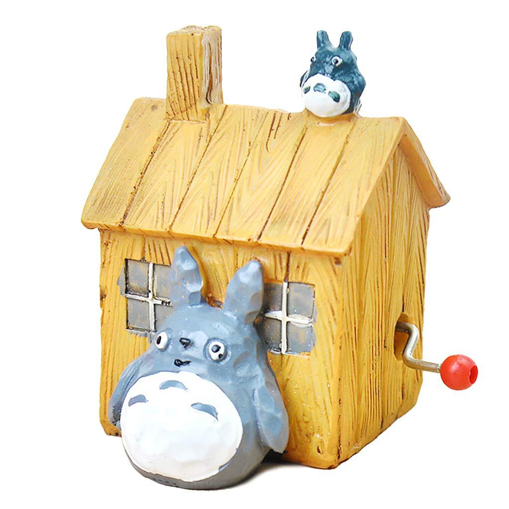 Fafalloagrron Antique sculpté Maison Boîte à Musique Résine à manivelle Dessin animé Totoro–Décor Cadeaux, 1