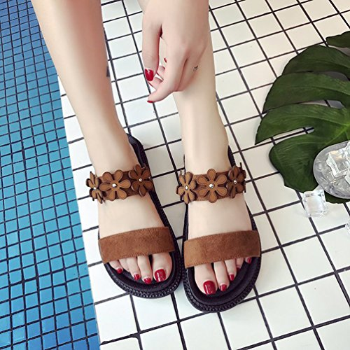 Open Women Jitong Beach Brown Casual Sandals Low Shoes Flat for ONS Toe with Slip Top Flowers nAw0wCqY