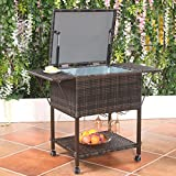 Portable Rattan Cooler Cart Trolley Outdoor Patio Pool Party Ice Drink Mix Brown