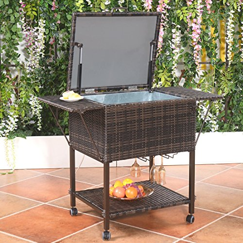 Portable Rattan Cooler Cart Trolley Outdoor Patio Pool Party Ice Drink Mix (Tent Style Napkin Rings)