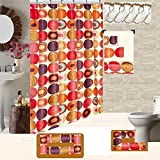 18 Piece High Quality Geometric Design Banded Shower Curtain Bath Set,1,Bath Rug,1 Contour Rug 1, shower curtain 12 Metal Crystal Roller Ball Shower Hooks 3 Pc Matching towel set (Fabulous Beige)