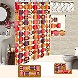 18 Piece High Quality Geometric Design Banded Shower Curtain Bath Set,1,Bath Rug,1 Contour Rug 1, shower curtain 12 Metal Crystal Roller Ball Shower Hooks 3 Pc Matching towel set (Fabulous Beige)