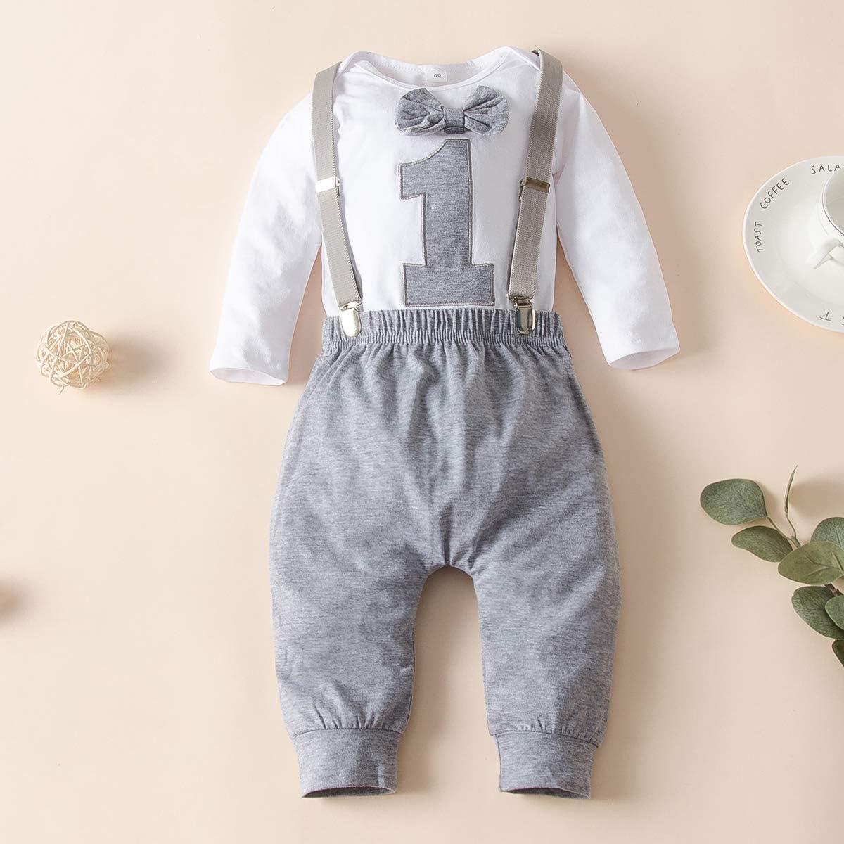 Chennie Baby Boy First Birthday Vestiti manica lunga Papillon pagliaccetto reggicalze pantaloni vestiti set