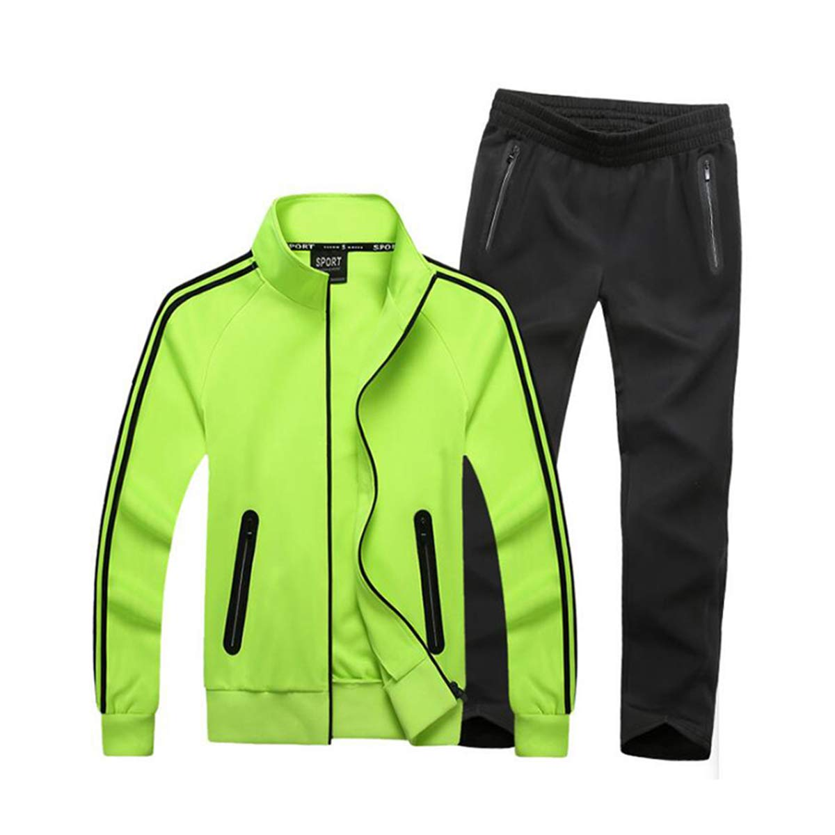 Green Small HORZEE Men's Exercise Kits Athletic Tracksuit FullZip Jogger Sports Set Casual Sweat Suit Jacket&Pants2 Piece