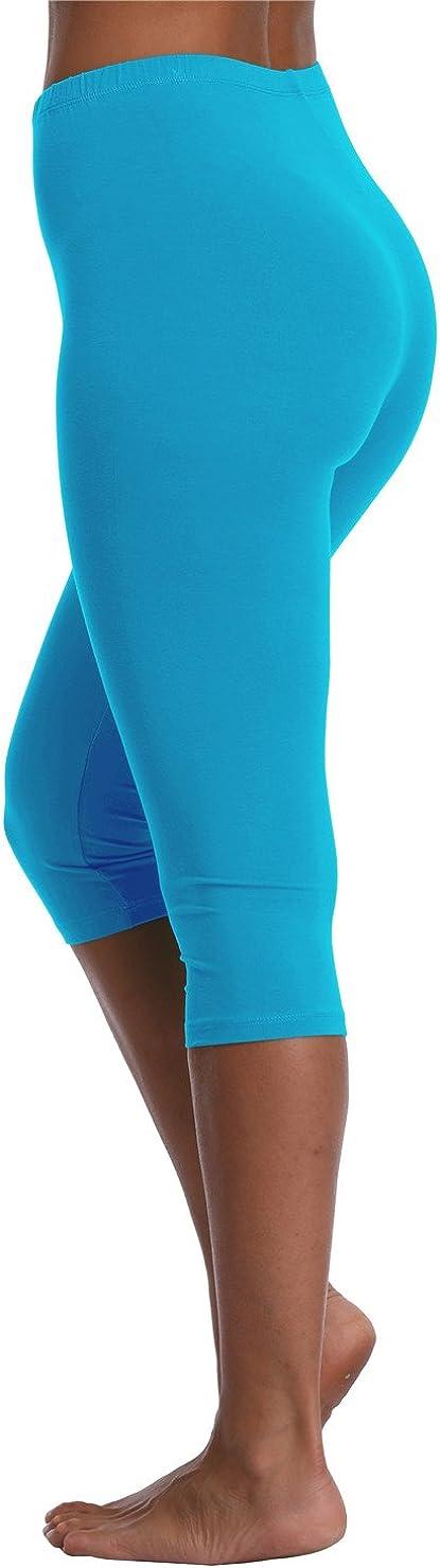 Kotii Womens Lightweight Soft Capri Leggings Crop Leggings 3//4 Stretch Yoga Pants