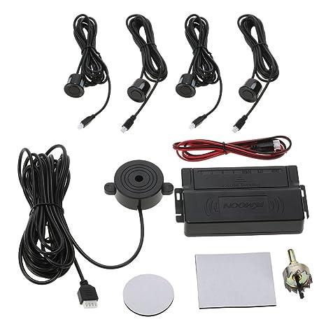 KKmoon Asistencia de Aparcamiento 4 Sensor Radar Kit Reverse Alarma Sistema para Coche Auto