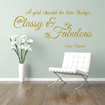 CLASSY And FABULOUS Girl CC Coco Chanel Fashion Quote Wall Art Sticker  Decal Words, GOLD Part 61