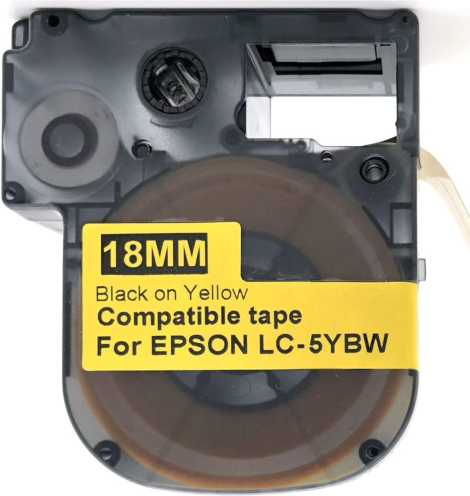 Compatible EPSON18mm LC-5YBW Label Tape Black on Yellow 8m 18mm LW400 500 900