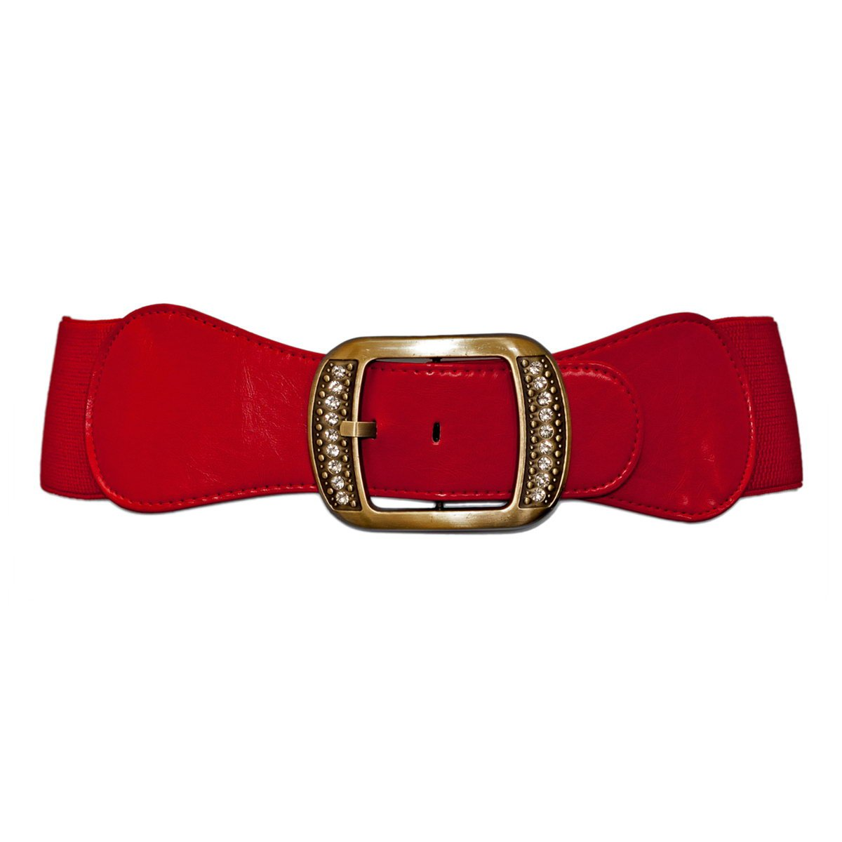 eVogues Plus Size Rhinestone Studded Burnished Buckle Elastic Belt B20121031B_BLK-0001